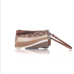 Coach mini wristlet bag logo canvas leather brown